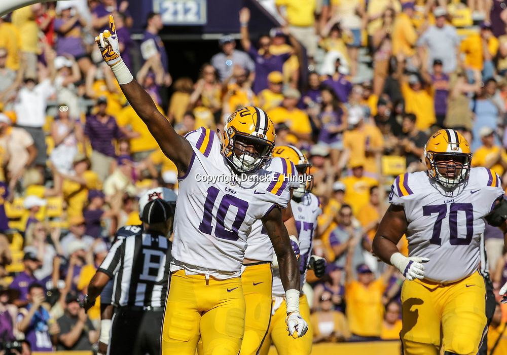 Oct 14, 2017; Baton Rouge, LA, USA; LSU Tigers wide receiver Stephen Sullivan (10) celebrates after a touchdown against the Auburn Tigers during the first half of a game at Tiger Stadium. Mandatory Credit: Derick E. Hingle-USA TODAY Sports