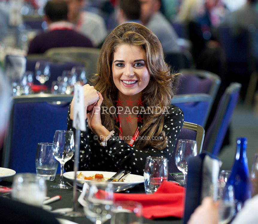 CARDIFF, WALES - Saturday, November 12, 2011: Former Miss Wales 2010 Courtenay Hamilton in the 1876 Club before the international friendly match against Norway at the Cardiff City Stadium. (Pic by David Rawcliffe/Propaganda)