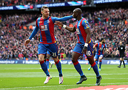 Yannick Bolasie of Crystal Palace celebrates with Connor Wickham after scoring the opening goal - Mandatory by-line: Robbie Stephenson/JMP - 24/04/2016 - FOOTBALL - Wembley Stadium - London, England - Crystal Palace v Watford - The Emirates FA Cup Semi-Final