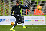 Forest Green Rovers goalkeeper Robert Sanchez(1) warming up during the EFL Sky Bet League 2 match between Forest Green Rovers and Mansfield Town at the New Lawn, Forest Green, United Kingdom on 15 December 2018.