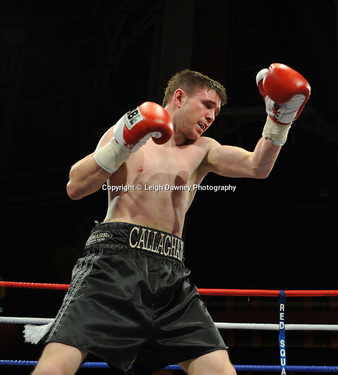 Ryan Farrag defeats Marc Callaghan (pictured) in a Super  Bantamweight contest at Olympia, Liverpool on the 11th June 2011. Frank Maloney Promotions.Photo credit: Leigh Dawney 2011