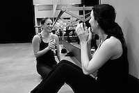 """Dancers Carleigh Lipman and Sara Vincent are the featured narrators in the multimedia presentation, """"DanceTHEATRE."""" The video documents the dancers' experiences through rehearsal, preparation and presentation.  KELLY LACEFIELD"""