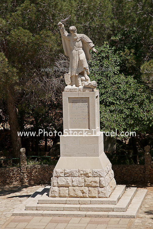 Israel, Carmel mountain, the statue of Elijah at the highest peak of Mt. Carmel called Muchraka. This is, by legend, the exact place where Elijah had his confrontation with the emissaries of Baal. (1 King 18:20) A Carmelite monastery was erected there in 1868