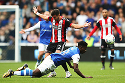 George Baldock of Sheffield United fouls Lucas Joao of Sheffield Wednesday - Mandatory by-line:  Matt McNulty/JMP - 24/09/2017 - FOOTBALL - Hillsborough - Sheffield, England - Sheffield Wednesday v Sheffield United - Sky Bet Championship
