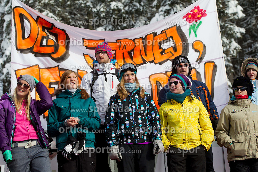 Supporters of Jernej Demsar during FIS Snowboard World Cup Rogla 2013 in Parallel Giant slalom, on February 8, 2013 in Rogla, Slovenia. (Photo By Vid Ponikvar / Sportida.com)