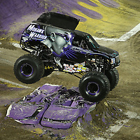 Mohawk Warrior driven by BJ Johnson is seen during the Monster Jam big truck event at the Citrus Bowl in Orlando, Florida on Saturday, January 25, 2014. (AP Photo/Alex Menendez)