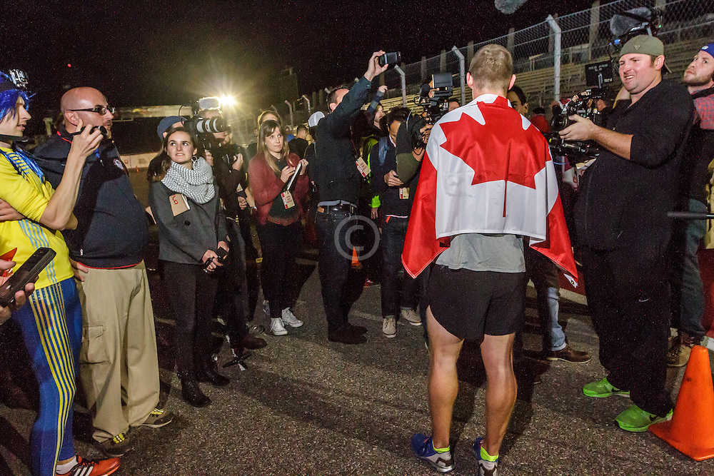 Beer Mile World Championships, Inaugural, Corey Gallagher, Canada, press interview after victory