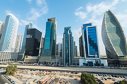 Skyline of new office towers in Business Bay district of Dubai United Arab Emirates