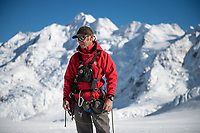 Ant Mountain Guide on The Tasman Glacier (Haupapa) which is the largest glacier in New Zealand, and one of several large glaciers which flow south and east towards the Mackenzie Basin from the Southern Alps in New Zealand's South Island.