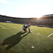 Craig Bunker #22 of the Boston Cannons warms up on the field prior to the game at Harvard Stadium on August 9, 2014 in Boston, Massachusetts. (Photo by Elan Kawesch)
