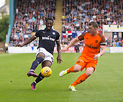 July 30th 2017, Dundee, Scotland; Betfred Cup football, group stages, Dundee versus Dundee United; Dundee&rsquo;s Roarie Deacon runs at Dundee United's Thomas Scobbie<br /> <br />  - Picture by David Young - www.davidyounghoto@gmail.com - email: davidyoungphoto@gmail.com