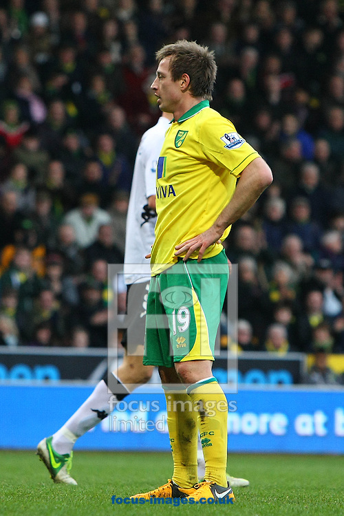 Picture by Paul Chesterton/Focus Images Ltd +44 7904 640267.09/02/2013.Luciano Becchio of Norwich rues a missed chance during the Barclays Premier League match at Carrow Road, Norwich.