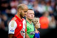 ROTTERDAM - Feyenoord - Southampton FC , Voetbal , Voorbereiding , Oefenwedstrijd , Seizoen 2015/2016 , Stadion de Kuip , 23-07-2015 , Southampton speler Jordy Clasie (r) komt het veld op samen met Speler van Feyenoord Karim El Ahmadi (l)