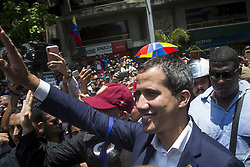 April 30, 2019 - Caracas, Venezuela - Venezuelan opposition leader and self-proclaimed acting president Juan Guaido, greet supporters after being joined by members of the Bolivarian National Guard to oust Maduro, in Caracas on April 30, 2019. (Credit Image: © Jonathan Lanza/NurPhoto via ZUMA Press)