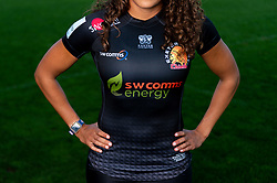 Featured SW Comms and SW Comms Energy ; Garnet MacKinder models the new Exeter Chiefs Women's shirt with their new sponsors on ahead of their 2020/21 Season - Mandatory by-line: Ryan Hiscott/JMP - 17/09/2020 - RUGBY - Sandy Park - Exeter, England - Exeter Chiefs Women - Shirt Sponsors Evening