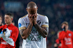 Sean Klaiber #17 of FC Utrecht reacts after the semi final KNVB Cup between FC Utrecht and Ajax Amsterdam at Stadion Nieuw Galgenwaard on March 04, 2020 in Amsterdam, Netherlands