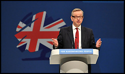 Michael Gove MP Secretary of State for Education delivering his speech to the Conservative Party Conference in Manchester, United Kingdom. Tuesday, 1st October 2013. Picture by Andrew Parsons / i-Images