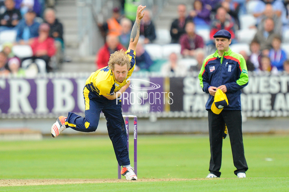 Hampshire's Gareth Berg during the NatWest T20 Blast South Group match between Somerset County Cricket Club and Hampshire County Cricket Club at the Cooper Associates County Ground, Taunton, United Kingdom on 19 June 2016. Photo by Graham Hunt.