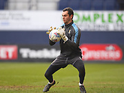 Luton Town goalkeeper James Shea saves a shot during warm ups during the EFL Sky Bet League 2 match between Luton Town and Barnet at Kenilworth Road, Luton, England on 24 March 2018. Picture by Ian  Muir.