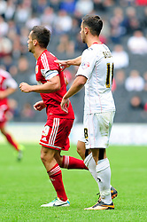 brothers, Bristol City captain, Sam Baldock and Milton Keynes Dons' George Baldock  - Photo mandatory by-line: Dougie Allward/JMP - Tel: Mobile: 07966 386802 24/08/2013 - SPORT - FOOTBALL - Stadium MK - Milton Keynes -  Milton Keynes Dons V Bristol City - Sky Bet League One