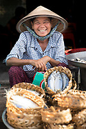 Woman selling fruit at a market in Ho Chi Min, Vietnam