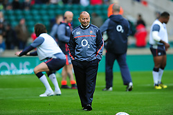 England Rugby Head Coach Eddie Jones looks on during the pre-match warm-up - Mandatory byline: Patrick Khachfe/JMP - 07966 386802 - 19/11/2016 - RUGBY UNION - Twickenham Stadium - London, England - England v Fiji - Old Mutual Wealth Series.