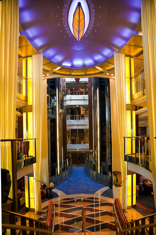 Interior atrium aboard the Celebrity Solstice cruise ship.