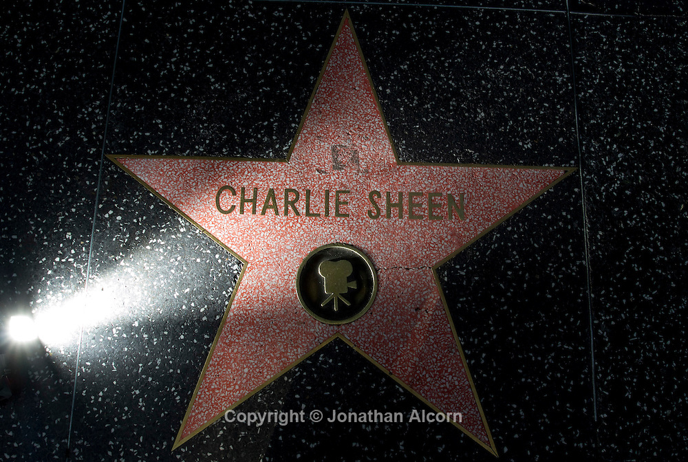 "The star of troubled actor Charlie Sheen on the Hollywood Walk of Fame. Sheen has been taking his  ""My Violent Torpedo of Truth Tour"" act on tour and started the by bombing in Detroit on the first show..©Jonathan Alcorn 2011."