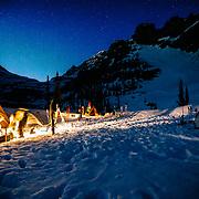 Basecamp activities after dark in Glacier National Park.