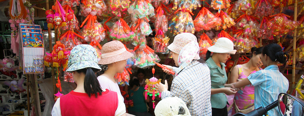 Vietnamese people are preparing for middle autumn festival, buying lantern for kids, Hanoi's old quarter,  Vietnam, Asia.