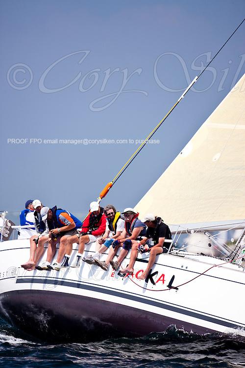 The Jackal, class 4, sailing at the start of the Newport Bermuda Race 2010. The race began in Newport, Rhode Island on June 18, 2010.