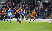 Hull City midfielder Robert Snodgrass (10) scores from the penalty spot during the The FA Cup match between Hull City and Brighton and Hove Albion at the KC Stadium, Kingston upon Hull, England on 9 January 2016.