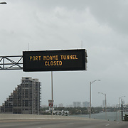 SEPTEMBER 9, 2017--MIAMI--FLORIDA<br /> Electronic signs advising drivers the Port of Miami Tunnel is closed due to hurricane Irma.<br /> (Photo by Angel Valentin)