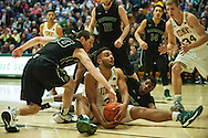 Vermont's Anthony Lamb (3) calls time out as he battles for the loose ball during the men's basketball game between the Dartmouth Big Green and the Vermont Catamounts at Patrick Gym on Wednesday December 7, 2016 in Burlington (BRIAN JENKINS/for the FREE PRESS)
