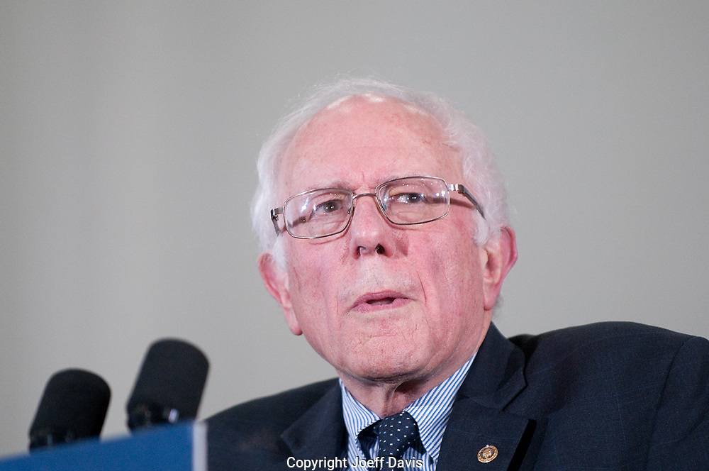 "February 17, 2016 - Atlanta, Georgia: Approximately 5,000 people packed Morehouse College's Forbes Arena on Tuesday night to rally for Bernie Sanders' campaign against Hillary Clinton for the Democratic presidential nomination. The Vermont senator was joined by local musician and businessman Killer Mike, one of the candidate's most vocal and high-profile supporters, and others to kick off the campaign's ""Feel the Bern HBCU"" tour to build support among young black voters."