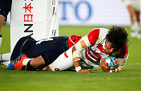 Rugby Union - 2019 Rugby World Cup - Pool A: Japan vs. Scotland<br /> <br /> Keita Inagaki of Japan scores his try at International Stadium Yokohama, Kanagawa Prefecture, Yokohama City.<br /> <br /> COLORSPORT/LYNNE CAMERON