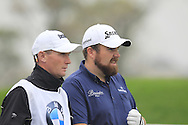 Shane Lowry (IRL) and caddy Dermot Byrne on the 2nd tee during Saturay's Round 3 of the 2014 BMW Masters held at Lake Malaren, Shanghai, China. 1st November 2014.<br /> Picture: Eoin Clarke www.golffile.ie
