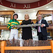 08.09. 2017.                             <br /> Launching Limerick Racecourse and Keanes Most Stylish Lady at Limerick Racecourse and Keanes Most Stylish Lady were, Jockey, Donal McInerney, Sinead O'Brien, Sineads Curvy Style and Aidan Liddy, Keanes Jewellers. Picture: Alan Place