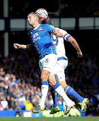 Everton's Phil Jagielka beats Diego Costa of Chelsea to a header  - Mandatory byline: Matt McNulty/JMP - 07966386802 - 12/09/2015 - FOOTBALL - Goodison Park -Everton,England - Everton v Chelsea - Barclays Premier League