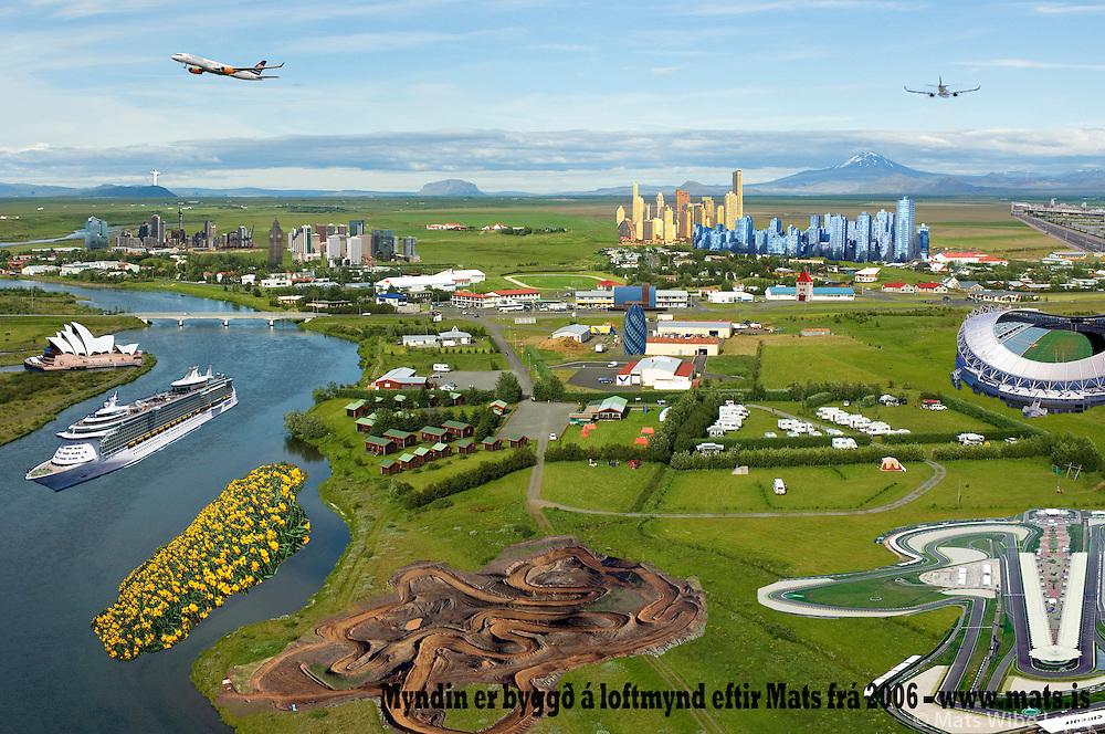 Draumsýn af Hella séð til norðurs, Rangárþing ytra / Dreamview of Hella viewing north, Rangarthing ytra..Created by Svavar L. Jósefsson -  svavarl@hotmail.com