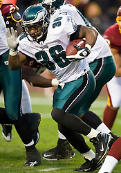 Philadelphia Eagles running back Brian Westbrook (36) rushes up field against Washington.  The Washington Redskins defeated the Philadelphia Eagles 10-3 in an NFL football game held at Fedex Field in Landover, Maryland on Sunday, December 21, 2008.