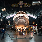 The nose of the Discovery at the Smithsonian Air and Space Museum. The decommissioned Space Shuttle Discovery is on permanent display in the James S. McDonnell Space Hangar at the Smithsonian's National Air and Space Museum's Udvar-Hazy Center in Chantilly, Virginia, just outside Washington DC. The shuttle arrived at the museum on April 19, 2012, and replaces the Space Shuttle Enterprise.