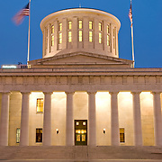 Ohio State Capitol Building in Columbus, Ohio, at dusk.
