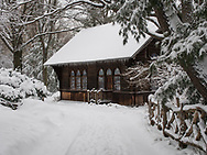Snow in Central Park at the Swedish Cottage