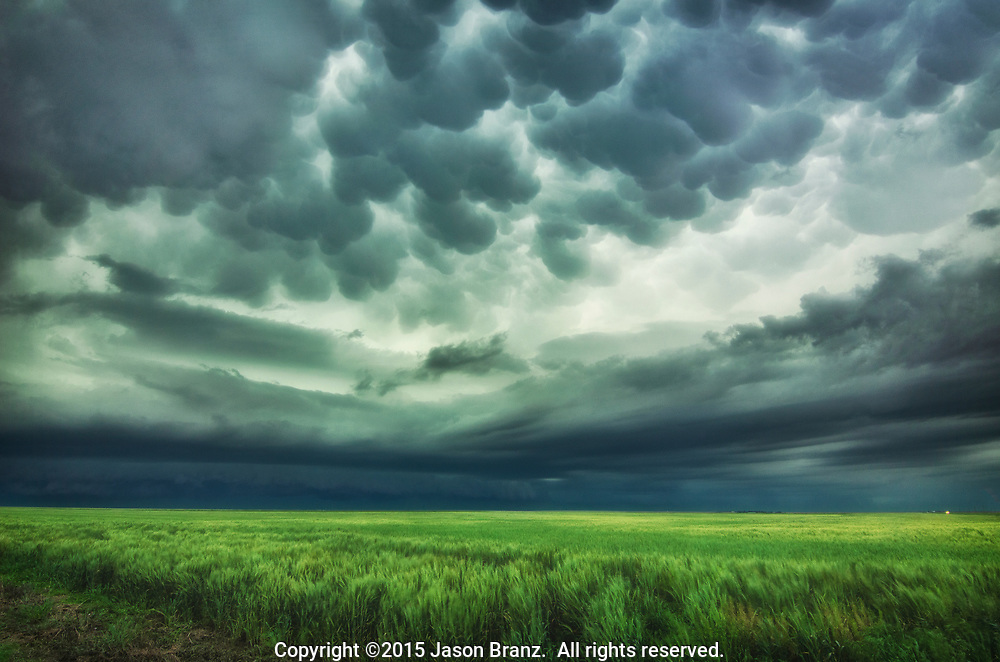 Mammatus beneath the anvil of a hailstorm in western Kansas.