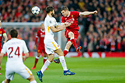Liverpool midfielder James Milner (7) heads the ball during the Champions League semi final leg 1 of 2 match between Liverpool and Roma at Anfield, Liverpool, England on 24 April 2018. Picture by Simon Davies.