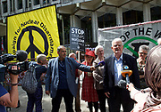 CND and Stop The War Rally outside the US Embassy, London, Great Britain <br /> 11th August 2017 <br /> <br /> Bruce Kent speaking outside the US Embassy in London <br /> <br /> Delegation calls for end to nuclear brinkmanship<br /> <br /> A delegation of journalists, writers, playwrights and anti-war activists will visit the US Embassy today to deliver a letter to the US ambassador to Britain. The letter calls on Donald Trump to desist from inflammatory statements and behaviour which is taking us to the brink of nuclear war.  <br /> <br /> Members of the delegation believe that Donald Trump's recent comments - threatening North Korea with &quot;fire and fury like the world has never seen&quot; - have significantly increased the risk of outright military conflict. War with North Korea is now a real possibility unless a very different approach is adopted by Britain's main ally.<br /> <br /> <br /> Photograph by Elliott Franks <br /> Image licensed to Elliott Franks Photography Services