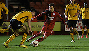 Gwion Edwards looks to make space during the Sky Bet League 2 match between Crawley Town and Newport County at the Checkatrade.com Stadium, Crawley, England on 1 March 2016. Photo by Michael Hulf.