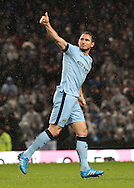 Frank Lampard of Manchester City celebrates scoring the third goal against Sunderland during the Barclays Premier League match at the Etihad Stadium, Manchester.<br /> Picture by Michael Sedgwick/Focus Images Ltd +44 7900 363072<br /> 01/01/2015