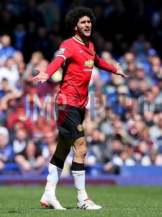 Marouane Fellaini of Manchester United looks frustrated after being fouled  - Photo mandatory by-line: Matt McNulty/JMP - Mobile: 07966 386802 - 26/04/2015 - SPORT - Football - Liverpool - Goodison Park - Everton v Manchester United - Barclays Premier League